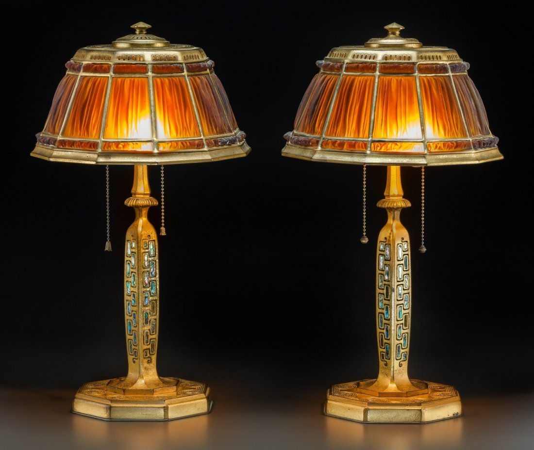 79020: Pair of Tiffany Studios Linenfold Favrile Glass