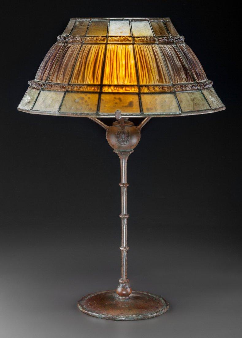 79021: Tiffany Studios Linenfold Favrile Glass and Bron