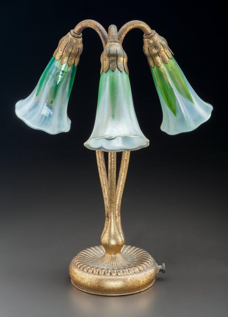 79023: Tiffany Studios Gilt Bronze and Favrile Glass Th