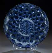 79212: Rare R. Lalique Peacock Blue Glass Plumes de Pao