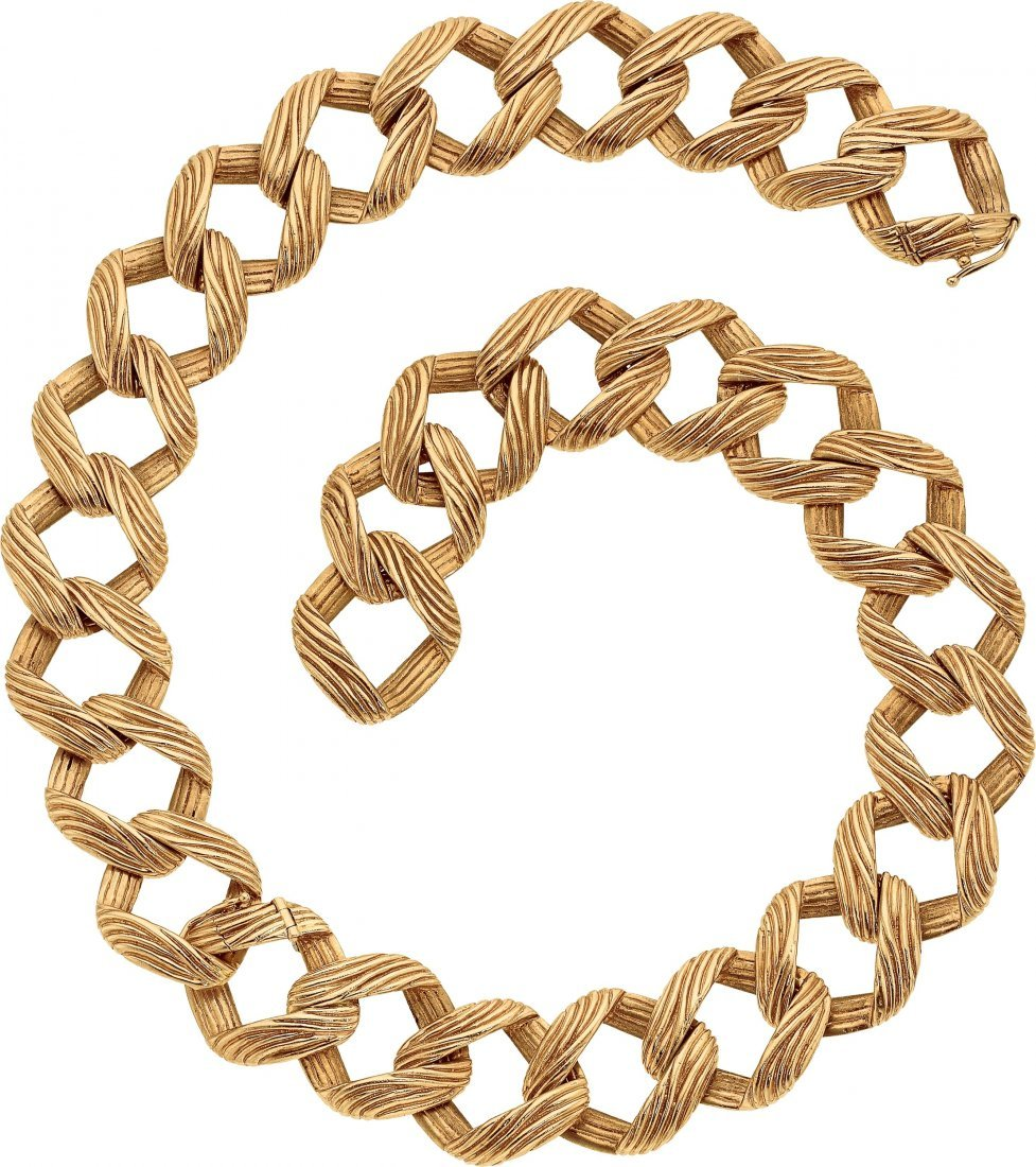 Gold Convertible Necklace, Ruser  The 18k gold necklace