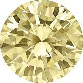 Unmounted Fancy Yellow Diamond  The round brilliantcut