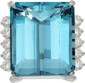 Aquamarine Diamond White Gold Ring Cartier  The ring