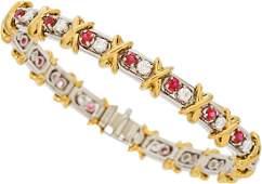 Ruby Diamond Platinum Gold Bracelet Schlumberger fo