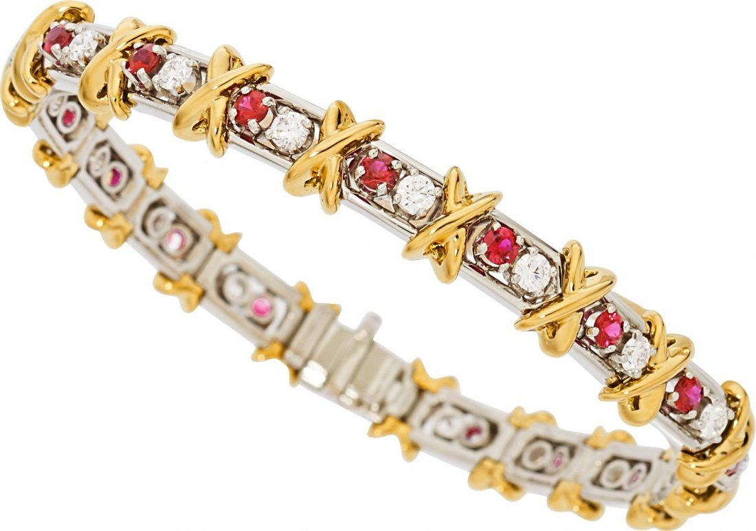 Ruby, Diamond, Platinum, Gold Bracelet, Schlumberger fo