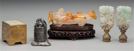 A Group of Five Chinese Carved Hardstone and Metal Item