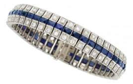 Art Deco Diamond Synthetic Sapphire Platinum Bracelet
