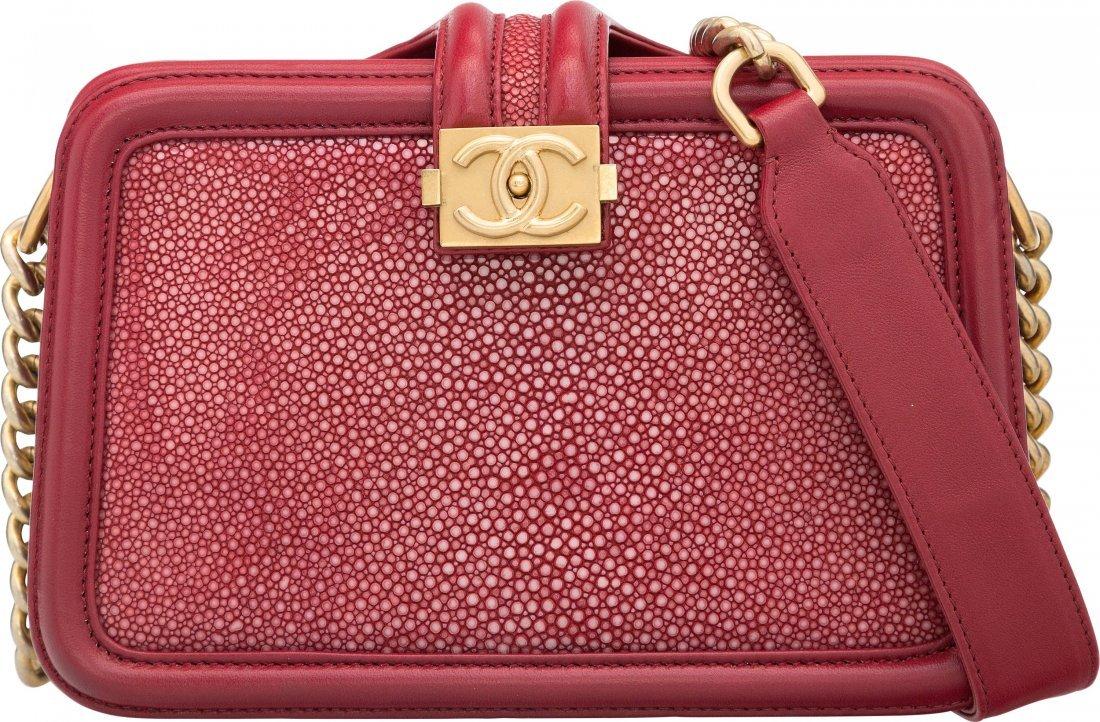 Chanel Red Stingray & Leather Shoulder Bag Excellent Co