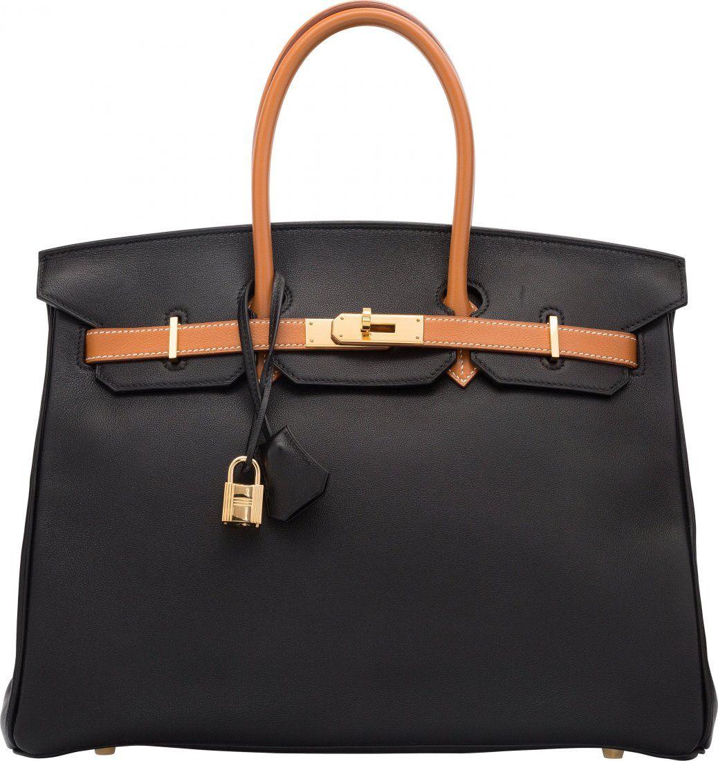 Hermes Special Order 35cm Black & Gold Gulliver Leather