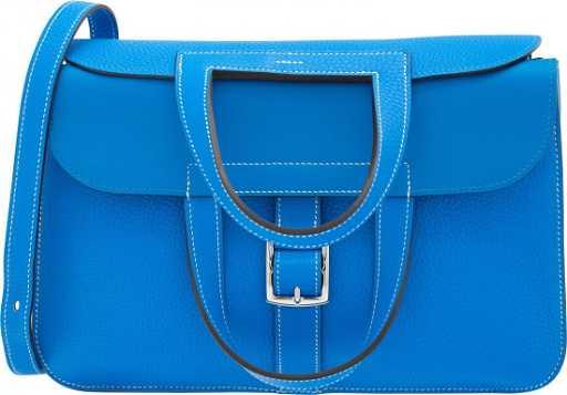 d750357370f2 Hermes 31cm Blue Hydra Clemence Leather Halzan Bag with