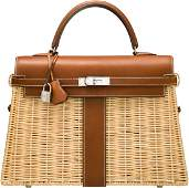 Hermes Limited Edition 35cm Barenia Leather & Osier Wic