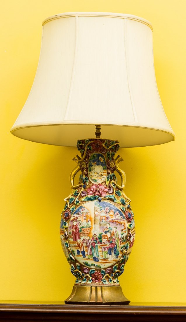 A Chinese Export Porcelain Vase Mounted as a Lamp 31 in
