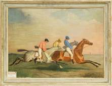A Pair of Horse Racing Scene Oil on Canvas Paintings 22