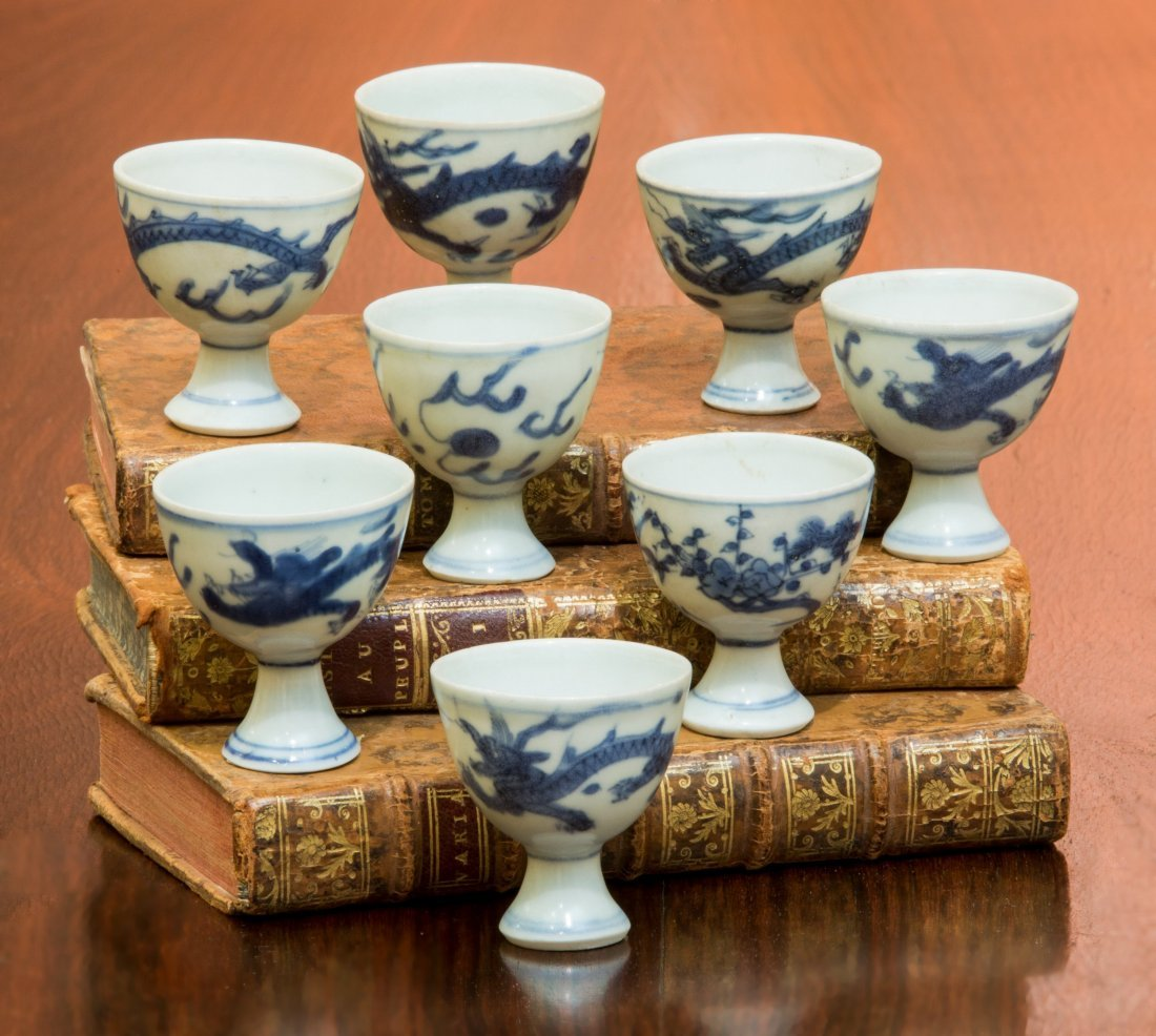 A Group of Eight Chinese Blue and White Porcelain Egg C