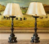 A Pair of Italian Baroque-Style Pricket Candle Sticks M