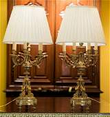A Pair of Louis XVIStyle Gilt Bronze SevenLight Cande