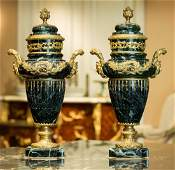 A Pair of Louis XVIStyle Gilt Bronze Mounted Green Mar