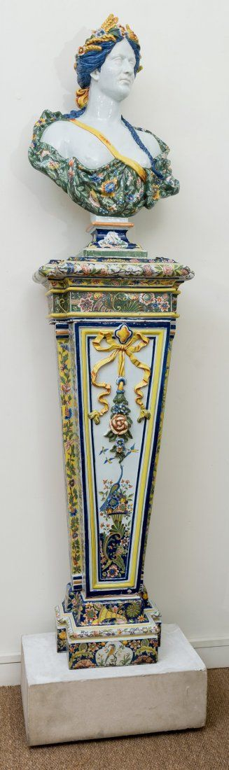A Rare and Large Italian Neoclassical Majolica Bust and