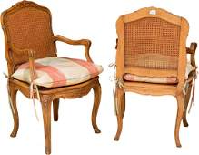 A Pair of Louis XV-Style Caned and Upholstered Fruitwoo