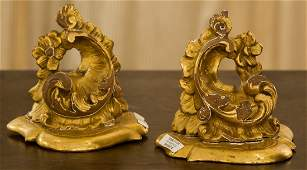 A Pair of Continental Rococo-Style Carved Giltwood Wall