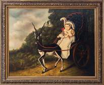 A Portrait of Child in a Gazelle Pulled Carriage Oil on