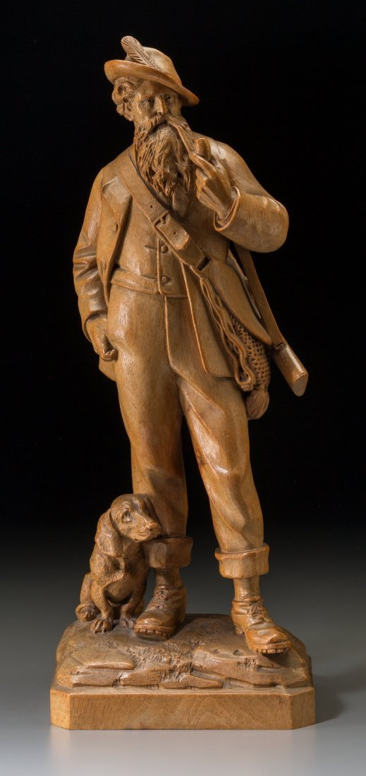65004: A Tyrolean Carved Boxwood Huntsman and Hound Gro