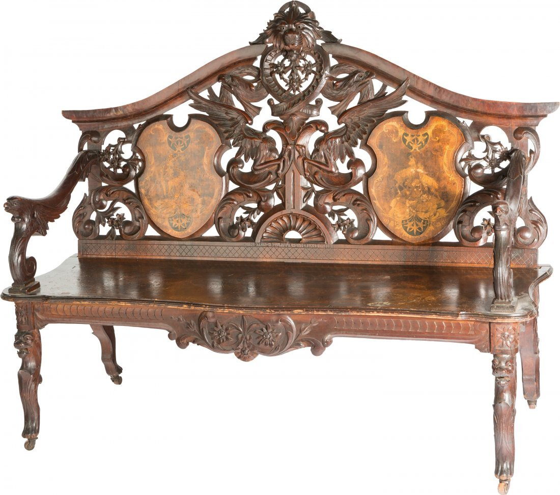 65005: A Swiss Renaissance Revival Carved Walnut and Ma