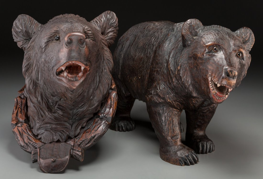 65008: Two Black Forest Carved Bear Figures 13 h x 8-5/