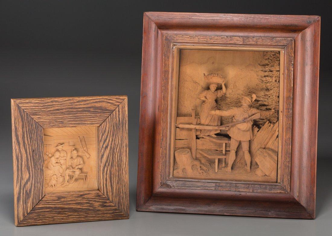 65010: Two Austrian Carved Limewood Diorama Reliefs, la