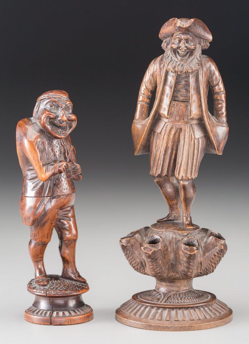 65011: Two Carved Boxwood Figures: Fiddler Nutcracker,