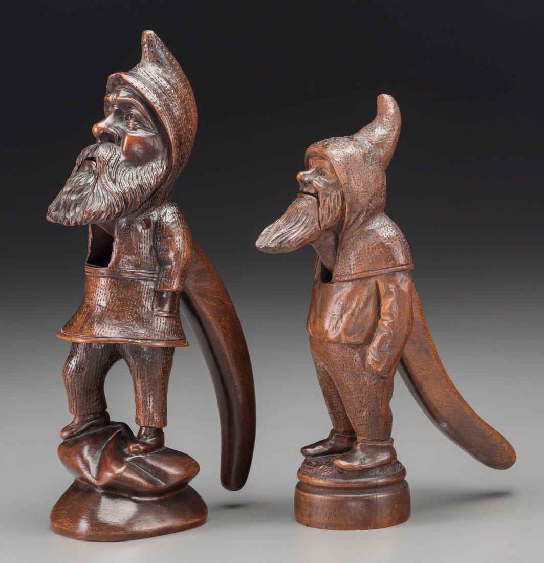 65014: Two Continental Carved Oak Comical Dwarf-Form Nu