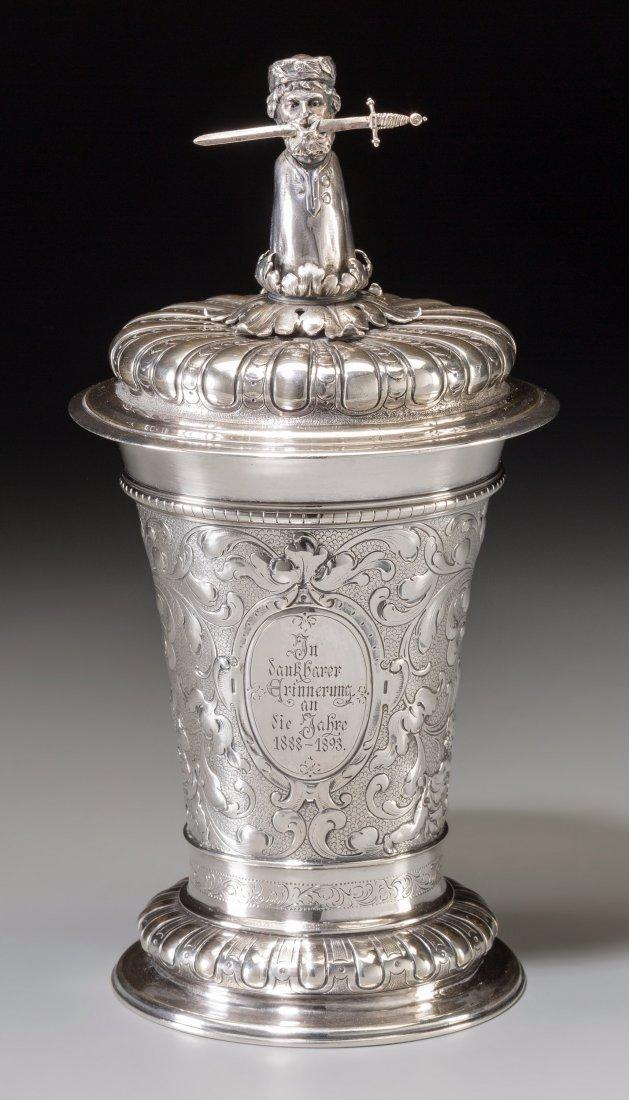 65019: A Cased Richard Garten German Silver Figural Cov