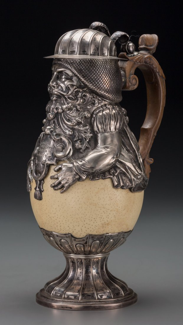65020: A German Silver and Ostrich Egg Figural Ewer, 19