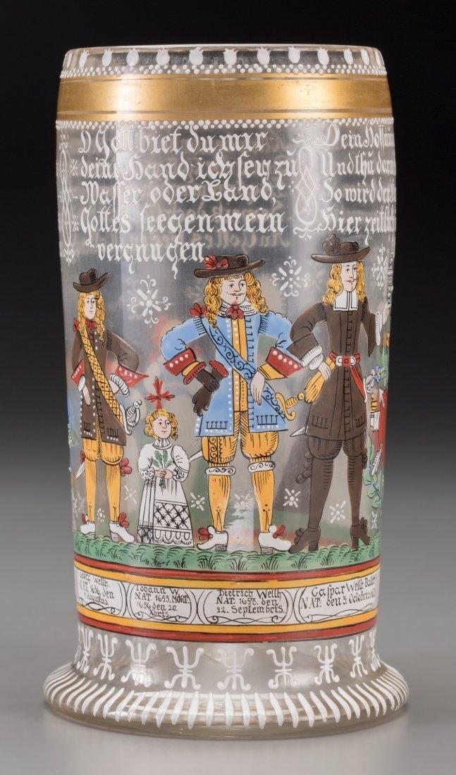 65022: A Bohemian Enameled Glass Marriage Humpen, circa