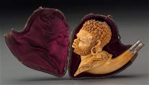 65255 A Cased Meerschaum Pipe of a Moor late 19th cen