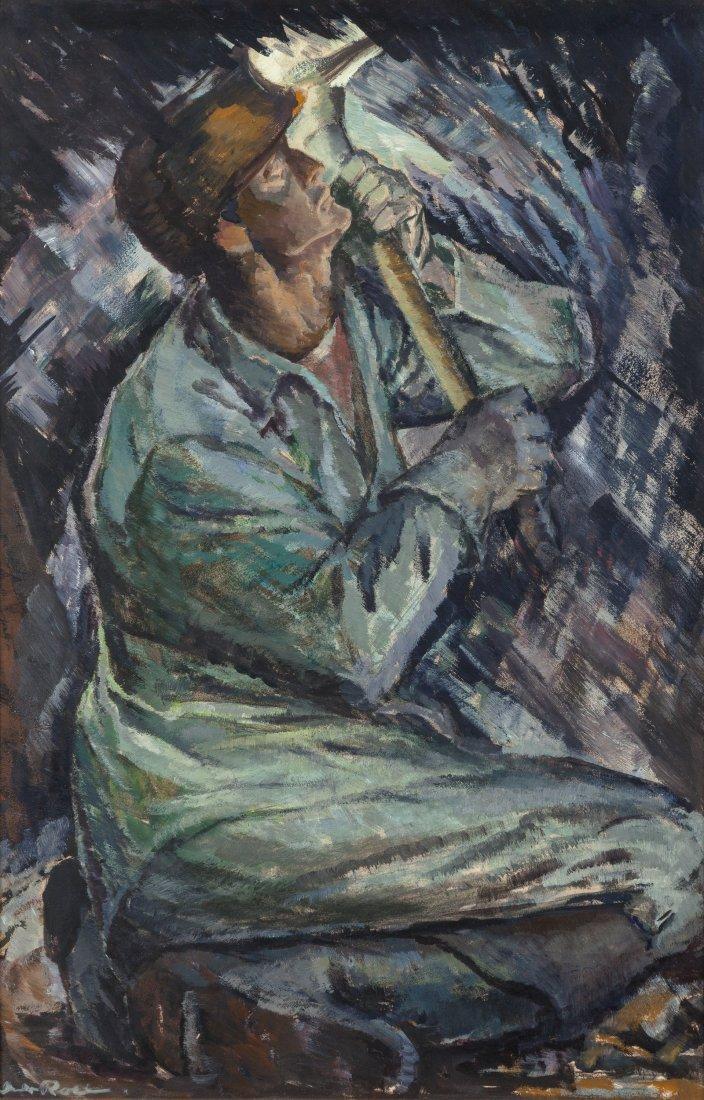 65403: Iver Rose (American, 1899-1972) Coal Miner  Oil