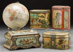 65321 Five GeographicalThemed Biscuit Tins early 20t