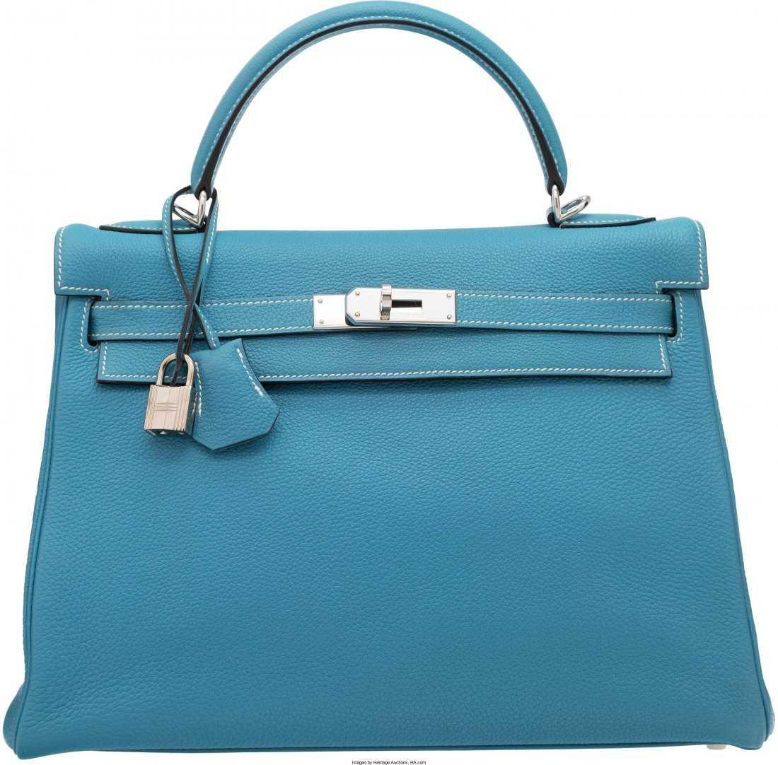 49f66066738f 58134  Hermes 32cm Blue Jean Togo Leather Retourne Kell