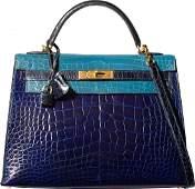 58138 Hermes 32cm Special Order Shiny Blue Saphir Blu