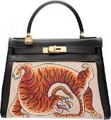 58075: Hermes Customized 28cm Black Calf Box Leather &