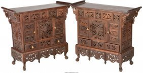 61286: A Pair of Chinese Carved Rosewood Table Cabinets