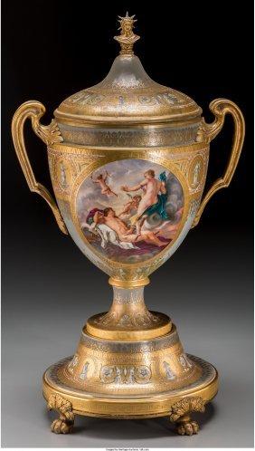61006: A Royal Vienna Gilt Bronze Mounted Painted Porce