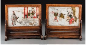 61291: Two Chinese Pictorial Painted Marble Table Scree