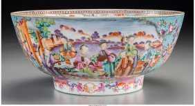 61295: A Chinese Export Famille Rose Porcelain Punch Bo
