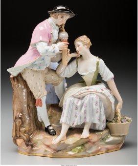 61017: A Meissen Painted Porcelain Figural Group: Scott