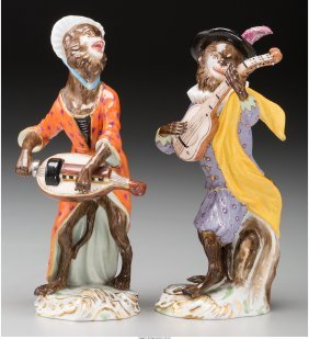 61018: Two Meissen Painted Porcelain Monkey Band Member