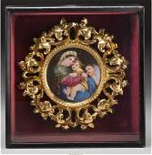 61022: A Framed Continental Painted Porcelain Plaque, a