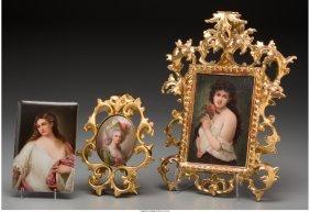 61023: Three German Porcelain Portrait Plaques, late 19