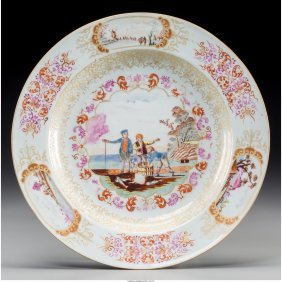 61304: A Chinese Export Famille Rose Porcelain Dish: We