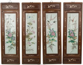 61305: Four Large Chinese Porcelain Plaques in Rosewood